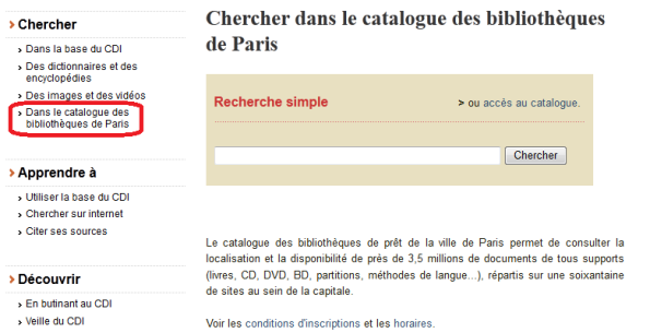 """Rubrique """"Recherche dans le catalogue des bibliothèques de Paris"""" dans E-sidoc"""