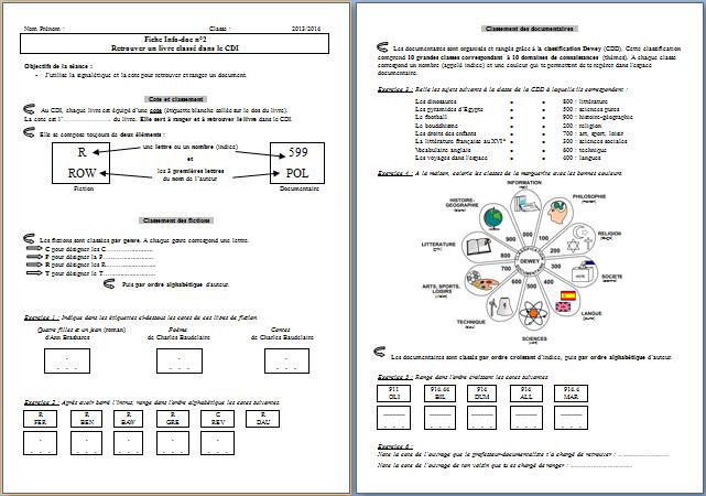 Info Doc Classement Du Cdi Seance 2 Fenetresur